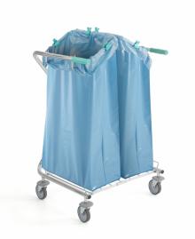 Chariot porte sac à déchets double