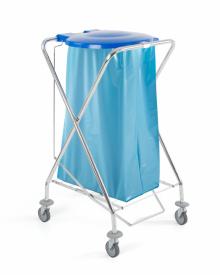 Chariot porte sac à déchets rond avec pédale et couvercle