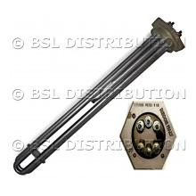 Résistance électrique chauffante à bride hexagonale ACIER BOWE, avec porte sonde