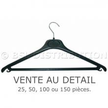 Cintres en plastique noir avec barre et crochet, vente au détail.