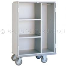 Chariot armoire à linge 2 étagères avec portes + penderie