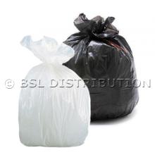 Sac poubelle polyéthylène 100 Litres Blanc ou Noir, le lot de 200 sacs.