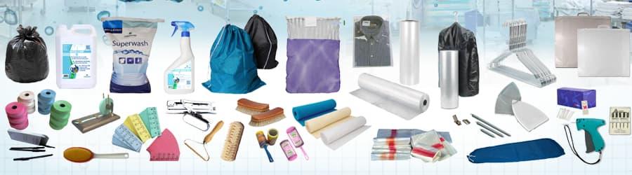 Fournitures et consommables pour blanchisserie, laverie et pressing.