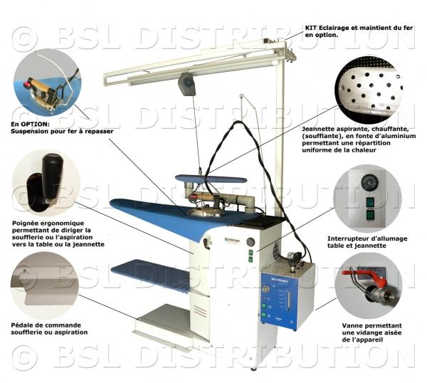 Table repasser professionnelle chauffante aspirante et for Centrale vapeur professionnelle pour pressing