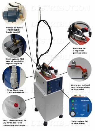 Générateur de vapeur automatique MOD 306.41 chaudière INOX 5 litres + réserve 30 litres. DOUBLE ELECTROVANNES