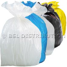 Sac poubelle polyéthylène 50 Litres Blanc, Bleu, Transparent, Noir, Jaune, le lot de 500 sacs.