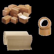 Rouleaux et caisse carton