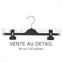 Cintres à pinces en plastique noir, vente au détail.