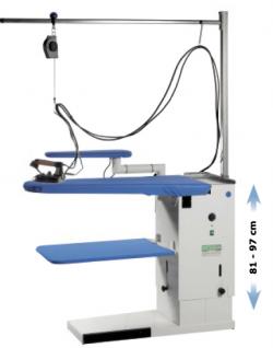 POSEIDONE - Table à repasser réglable en hauteur, Chauffante, Aspirante, Soufflante. Avec kit de suspension.