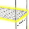 Étagère en fil d'acier chromé de largeur 450 mm