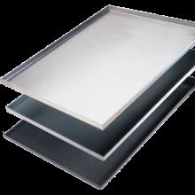 Plaque cuisson pâtissière aluminium, pleine, angle 90°