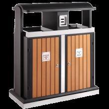 Poubelle d'extérieur pour tri sélectif en bois 2x50L