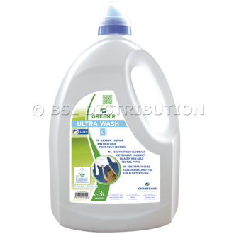 Lessive liquide concentrée hautes performances, GREEN'R ULTRA WASH 3 L hypoallergénique. CHRISTEYNS
