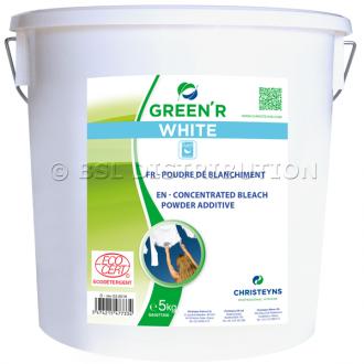 Poudre de blanchiment GREEN'R WHITE à l'oxygène actif, Seau de 5 KG. CHRISTEYNS