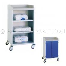 Chariot armoire à linge 2 étagères avec plateau