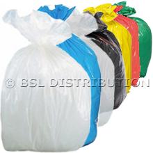 Sac poubelle polyéthylène 110 Litres Blanc, Bleu, Transparent, Noir, Jaune, Rouge ou Vert, le lot de 200 sacs.