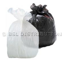 Sac poubelle polyéthylène 130 Litres Transparent ou Noir, le lot de 200 sacs.