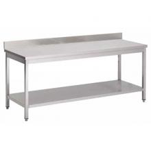 Table INOX piétements carrés AVEC DOSSERET (largeur 600mm)