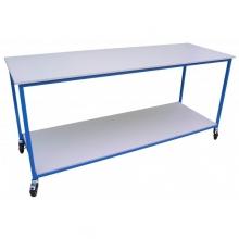 Table de tri et de pliage en bois mélaminé - 2 plateaux.