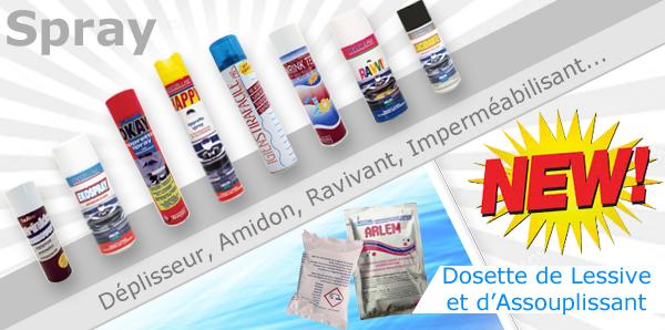 Spray Déplisseur, Amidon, Lustrant, Ravivant, Imperméabilisant / Dosette de Lessive et d'Assouplissant. (Nouveaux Produits)