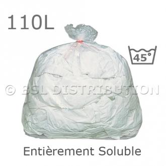Sac soluble 110 litres, entièrement soluble à 45°C. PVA. 25µ. 710x990mm. (200 pièces)