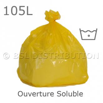 Sac à ouverture soluble, 105 litres, JAUNE. 25µ. 711x965mm. (200 pièces)