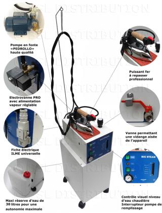 Générateur de vapeur semi-automatique MOD 306.31 chaudière INOX 5 litres + Réserve 30 litres. DOUBLE ELECTROVANNES